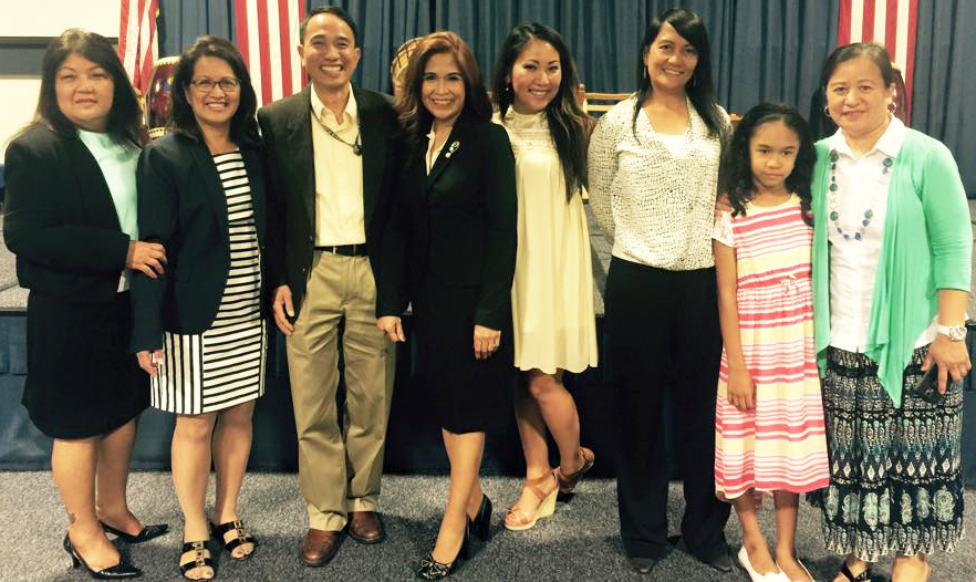 Members of the Filipino-American community who were guests of Emy Delgaudio (center) pose with Lila Howell, Master of Ceremonies (2nd from your left) after the NAVSUP Assembly in Mechanicsburg, PA on May 24 (left to right) Emma Miller, Maxwell Oligane, Valerie Shutt, Irene Whittenberger, Susan Ortiz and her daughter Hannah.
