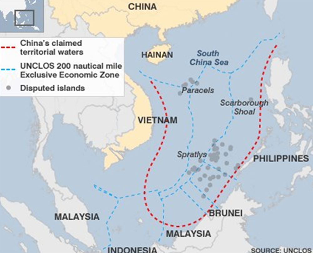 Map illustrating Chinese Attempted Seizure of Strategic Islands in the West Philippine (South China) Sea:
