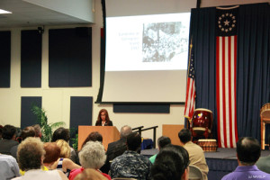 Philippine American Heritage Council Chairman Emy Delgaudio 20 minute presentation at NAVSUP included an extensive slide show.