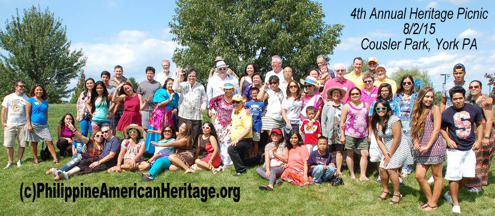 Group photo showing about 1/2 of the 90 attending the 4th annual Heritage Picnic on 8/2/15 at Cousler Park, York, PA hosted by Philippine American Heritage Council.