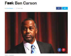 GQ's rude article is pictured here, after we censored their profanity laced headline attacking candidate for President Dr. Ben Carson.