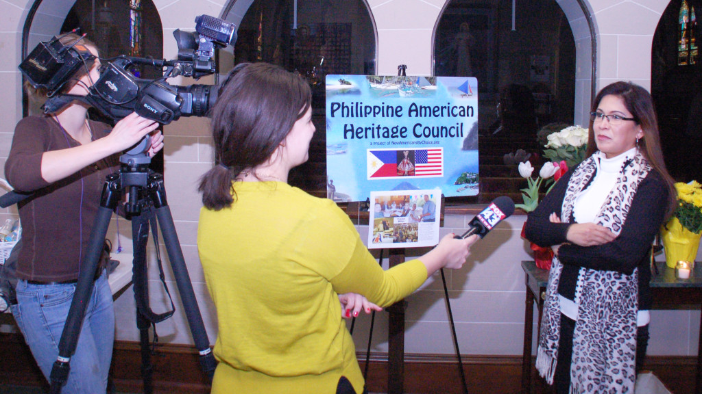 Emy Delgaudio being interviewed by Fox 43 TV by Leah Kirstein about the role of Evelyn Miller as a founder of Philippine American Heritage Council and her role as a volunteer and helper for charitable and civic causes in her community.
